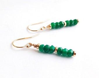 Gold Green Jade Earrings - long green earrings - 12th anniversary gifts for wife - jade anniversary - green stone earrings - jade jewelry