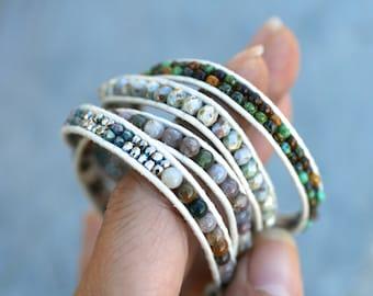 Fancy Jasper Gemstone, Czech Glass Bead, Crystal Beaded Leather Wrap Bracelet, 4x Wrap Bracelet, White Leather Multi Color, Bohemian Jewelry