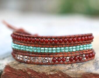 Carnelian Gemstone, Aqua Crystal,Copper Crystal Beaded Leather Wrap Bracelet, 3x Wrap Bracelet,Elephant Bracelet,Bohemian Jewelry,Three Wrap