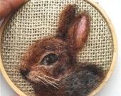 "Embroidery Hoop Bunny Pet Portrait Needle Felting 3"" READY to SHIP"