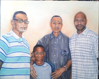 "SAMPLE Oil Painting Family Portrait 16""x 20"""