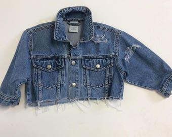 Kids Cropped Distressed Denim Jacket 3T