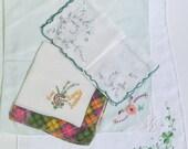 Vintage handkerchiefs hankies bit o' the green Scotland shamrock
