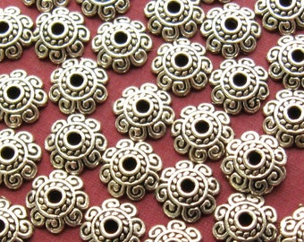 Antique Silver Floral Bead Caps 8mm - Set of 40 - 8 Petal Lead-Free Nickle-Free Silver Finish Flower Bead Caps (SFD0040)