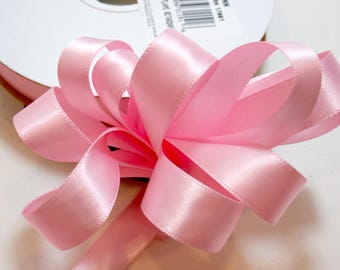 Pink Ribbon, Double-Faced Baby Pink Satin Ribbon 5/8 inch wide x 50 yards, Offray Light Pink Ribbon