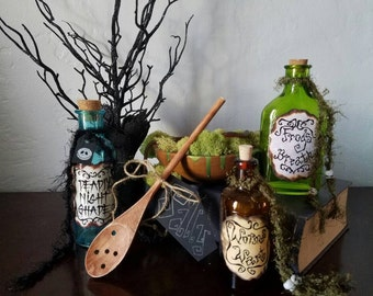 Nightmare before christmas sally potion poison bottles and spoon frogs breath nightshade worms wart