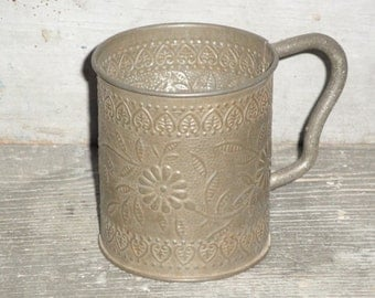 Vintage Embossed Tin Cup With Handle