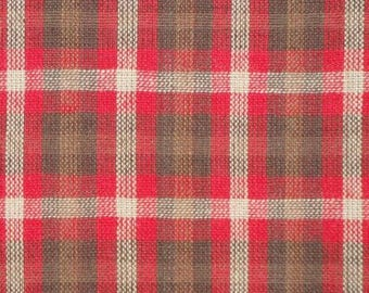 FLAWED Homespun Material | Red, Brown, Light Brown and Natural Plaid Material | Cotton Material | Quilt Material | Plaid Material | 31 x 44