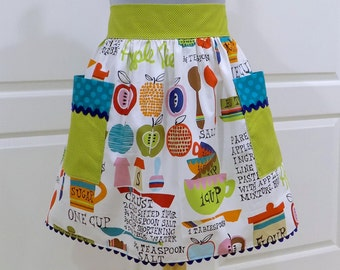 Half Apron Vintage Retro Womens Handmade Waist Aprons with pockets - Canning Cooking Baking Apple