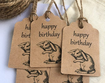 Happy Birthday tags x 10 - rabbit, hare, woodland party - gift tag, favour bag tag, favor, present, wrapping