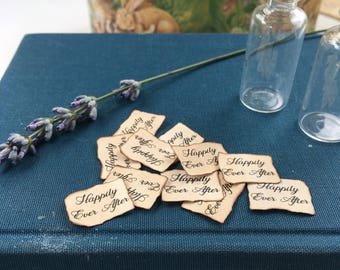 Labels x 10 suits tiny vials snd bottles - happily ever after, fairy tale party, party favours, handmade