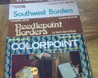 Four Counted Cross Stitch booklets-- Geometry,    borders, wall hangings and pillows.