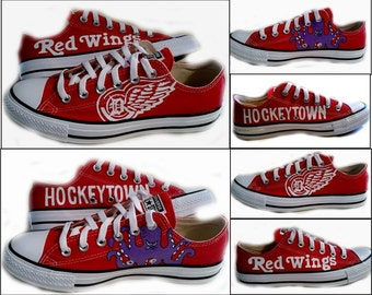 Red Wings Hockey, Converse, Custom Shoes, Wedding Shoes, Available in Red or Black, Prom, Message Me for Mens Sizes, Shoes Included,