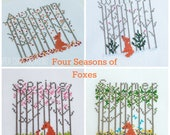 Four Seasons Fox Patterns, Counted Cross Stitch, Tree Cross Stitch, Seasonal Series Bundle, pdf, Instant Download