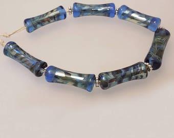 Silvered Tubular  Lampwork Beads SRA SRAJD