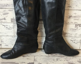 Vintage Seychelles Boots - Soft Black Leather Equestrian 7.5