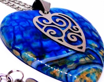Blue Dragon Vein Agate Pendant Necklace on 316L Stainless Steel Chain, Heart Charm, Jewelry for Women, Statement Piece, Adjustable Length