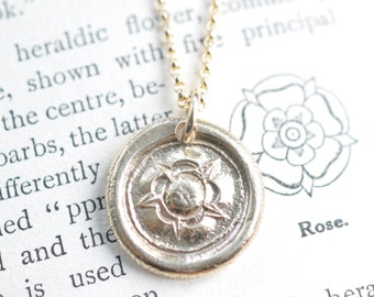14k gold Tudor Rose wax seal necklace pendant - Tudor Rose necklace - union rose - post medieval wax seal jewelry