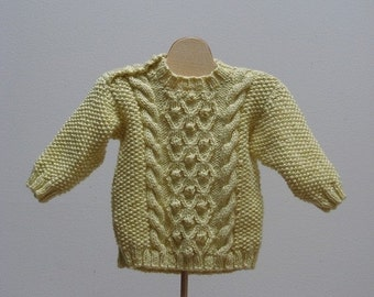 Holiday Sale Cable Aran Sweater and Hat  Yellow  3 month  Ready to ship