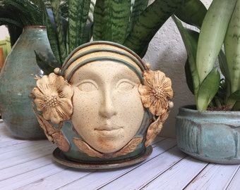 Ceramic Face Planter - Garden Planter - Large Handcrafted Pottery Face Pot - Garden Goddess - Plant Pot - Flower Pot - Succulent Pot