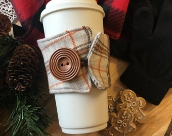 Flannel Coffee Cozy in Tan/Brown/Orange