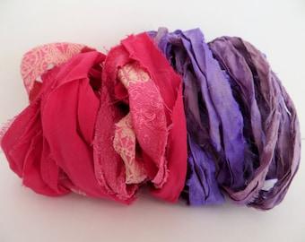Silk Sari Ribbon, Dark Pink Mix & Lavender Sari Ribbon, 10 Yards