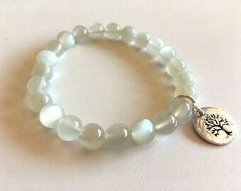 Selenite Gemstone Bracelet With Sterling Tree of Life