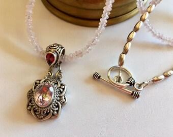 Rose Quartz Necklace With Mystic Quartz & Garnet Pendant