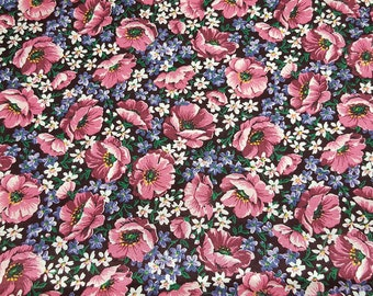 vintage 80s cotton quilting fabric, shabby chic floral print by VIP Cranston Print Works, 1 yard, 3 available, priced per yard