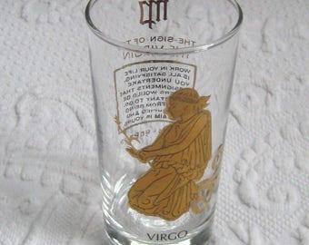 midcentury barware . virgo glass . zodiac glass . virgo tumbler . gold virgo tumbler . astrology tumbler