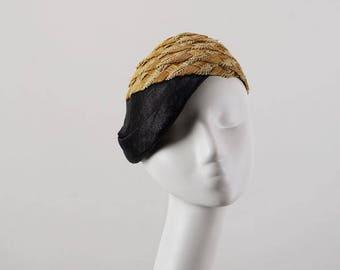 Vintage 1950s Hattie Carnegie Asymmetrical Straw Hat Cap Sz 22