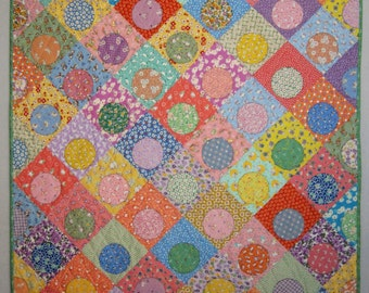 OFF CENTER Applique Baby Quilt from Quilts by Elena 1930s Reproduction Fabrics