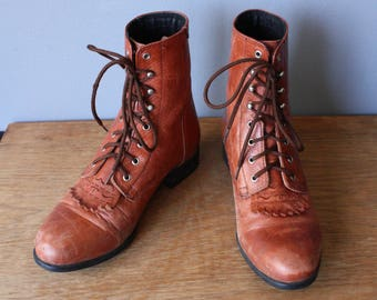 vintage Ariat roper boots US 7 / womens chestnut brown leather fringe boots / ankle boots