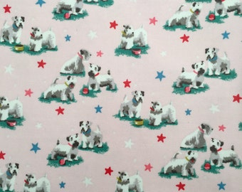 4431 - Cath Kidston Schnauzer (Light Pink) Oilcloth Waterproof Fabric - 28 Inch (Width) x 17 Inch (Length)