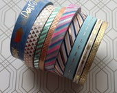 RESERVED for MADEMOISELLEAIMEDAMOUR Gold, Siliver and Metalic Skinny Washi Tape Set of 9 Rolls New and Slightly Used