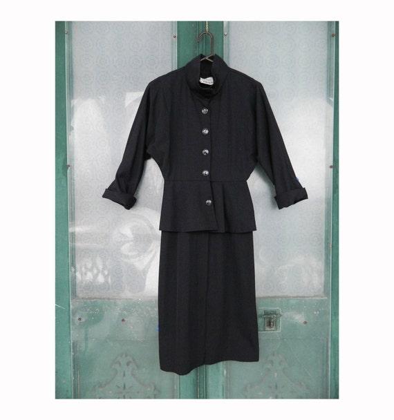 Jackie Bernard for Eklektic 1980s Peplum Suit Dress Black Size 4