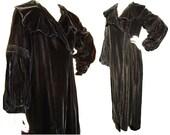 Vintage 30s Opera Coat Black Velvet Art Deco Evening NRA Blue Eagle Label - M