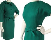 Vintage 60s Dress Set Mod Green Wool Sheath & Bolero Jacket M