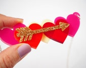 Cupid Love Necklace, Laser Cut Acrylic, Pink & Red hearts, Gold Glitter Acrylic Arrows, Heart Necklaces, Valentines Necklace, RockCakes