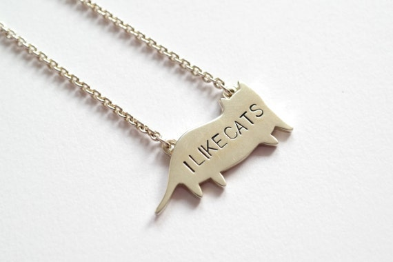 I LIKE CATS Collaboration, Cat Necklace, Sterling Silver Cat Pendant, Precious Jewellery, Handmade in Brighton, uk