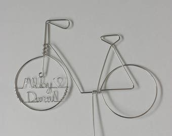 Bicycle Wedding Cake Topper Personalized Silhouette