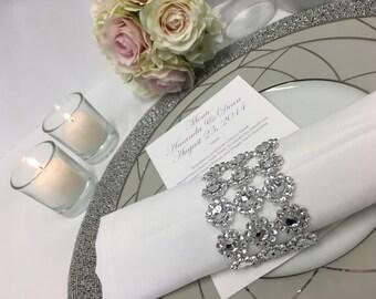 Silver Bling Napkin Ring + Silver Rhinestone Wedding Napkin Ring (Set of 10)