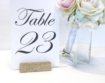 Table Number Holder + Champagne Gold Glittered Table Number Holders