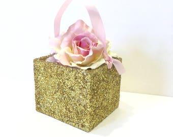 Flower Girl Basket + Gold Glitter Flower Girl Basket with Ribbon Handle