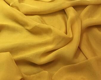 Hand Dyed HONEY MUSTARD YELLOW Soft Silk Organza Fabric - 1 Yard