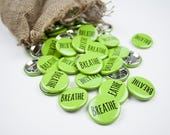 """Birth Affirmation Button """"Breathe"""" in Green"""