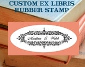 Vintage Mortise Ex Libris Bookplate Rubber Stamp - Custom Personalized by Blossom Stamps