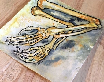 Macabre Painting of Bones - Arm Bone Illustration - Original Art from Horror Story - The No Sleep Podcast Drawing by Jen Tracy