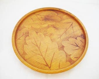 vintage wood tray plate treenware with leaf design