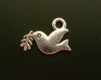 Dove with Olive Branch - Silver Tone Pewter Charm - Low Shipping